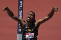 JuVaughn Harrison celebrates during the finals of the men's high jump at the U.S. Olympic Track and Field Trials Sunday, June 27, 2021, in Eugene, Ore. (AP Photo/Ashley Landis)