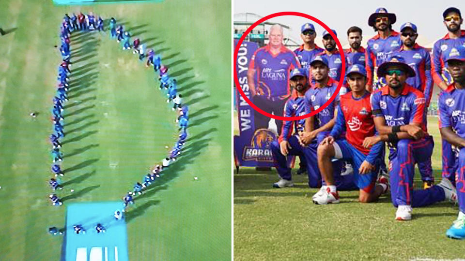 Karachi Kings players, pictured here paying tribute to Dean Jones.