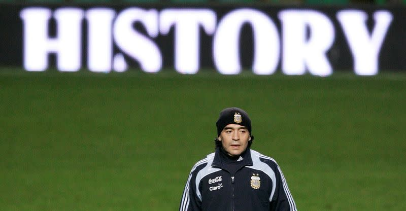 FILE PHOTO: Maradona at Team Argentina Training in Glasgow