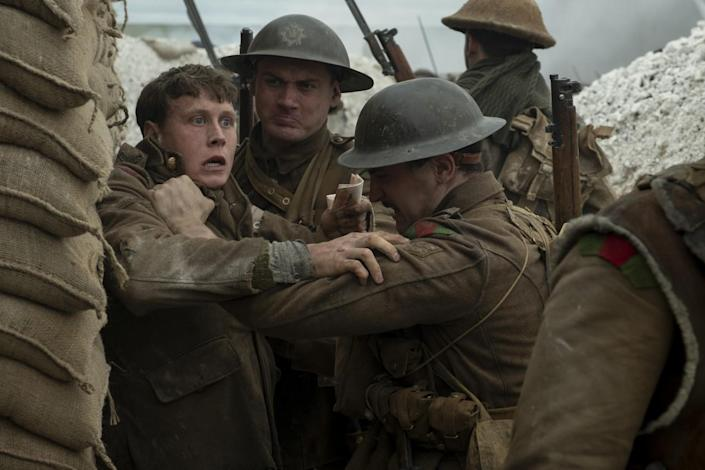"""George MacKay, left, in the recent best picture contender """"1917."""" <span class=""""copyright"""">(François Duhamel / Universal Pictures and DreamWorks Pictures)</span>"""