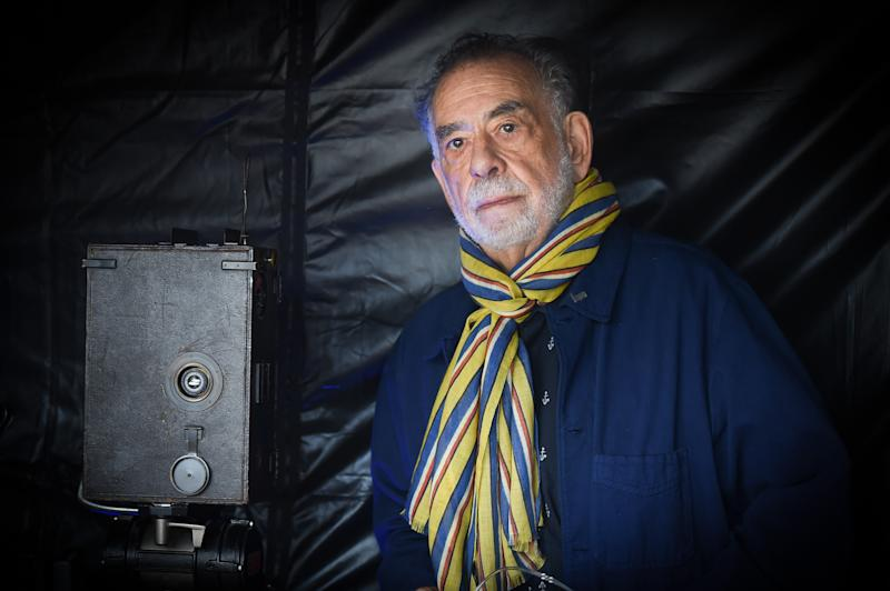 LYON, FRANCE - OCTOBER 19: Francis Ford Coppola shoots the remake of Louis Lumiere's 1st French short black-and-white silent documentary film 'La Sortie de l'Usine' during the 11th Film Festival Lumiere on October 19, 2019 in Lyon, France. (Photo by Stephane Cardinale - Corbis/Corbis via Getty Images)