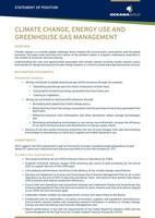 Statement of Position - Climate Change, Energy Use and Greenhouse Gas Management (CNW Group/OceanaGold Corporation)