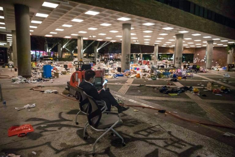 There was widespread debris at the Hong Kong Polytechnic University after fierce battles between pro-democracy demonstrators and riot police