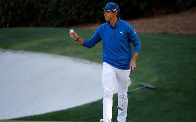 <span>Never say die: despite going in the water, Rickie Fowler produced explosive, battling golf to share the lead</span> <span>Credit: Reuters </span>