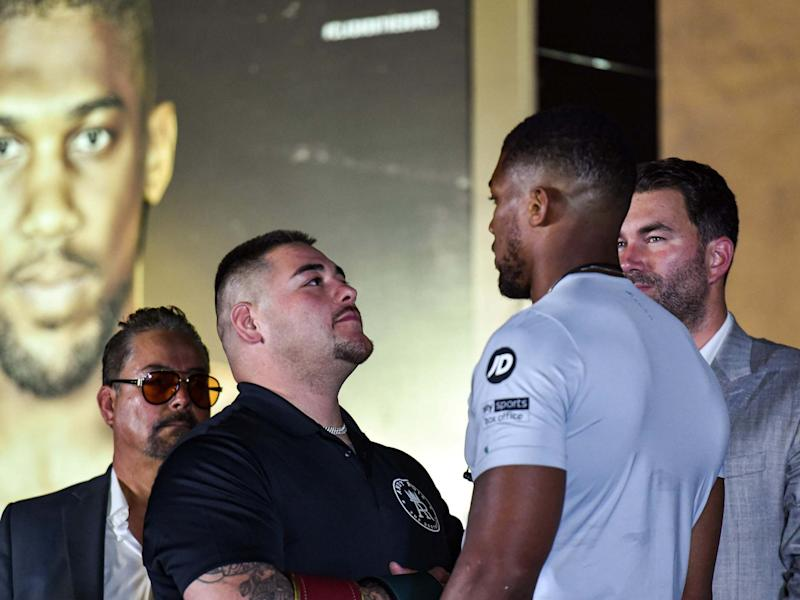 Andy Ruiz and Anthony Joshua face off: AFP/Getty