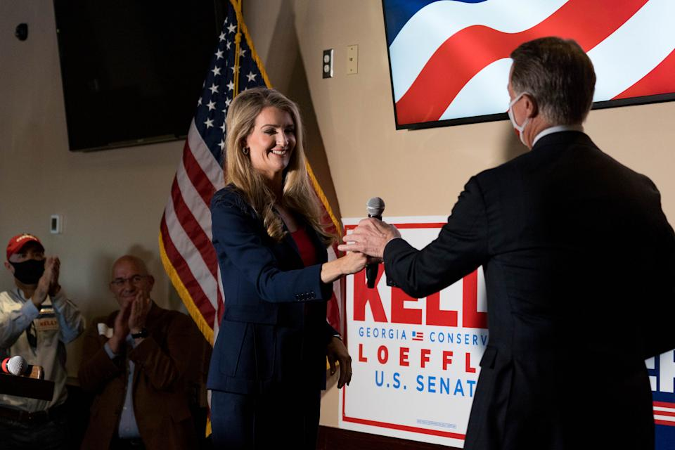 CUMMING, GA - NOVEMBER 13:  U.S. Sen Kelly Loeffler (R-GA) attends a campaign event to supporters at a restaurant on November 13, 2020 in Cumming, Georgia. There is a runoff election between Loeffler and Democratic opponent Raphael Warnock scheduled for Jan. 5, along with a second Senate runoff between Republican incumbent David Perdue and Democratic challenger Jon Ossoff.   (Photo by Megan Varner/Getty Images).