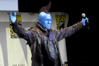 <p><i>Guardians</i> costar Michael Rooker came to cosplay, attending the July 23 Marvel panel in full makeup as his Ravager leader Yondu. <i>(Photo: Chris Pizzello/Invision/AP)</i></p>