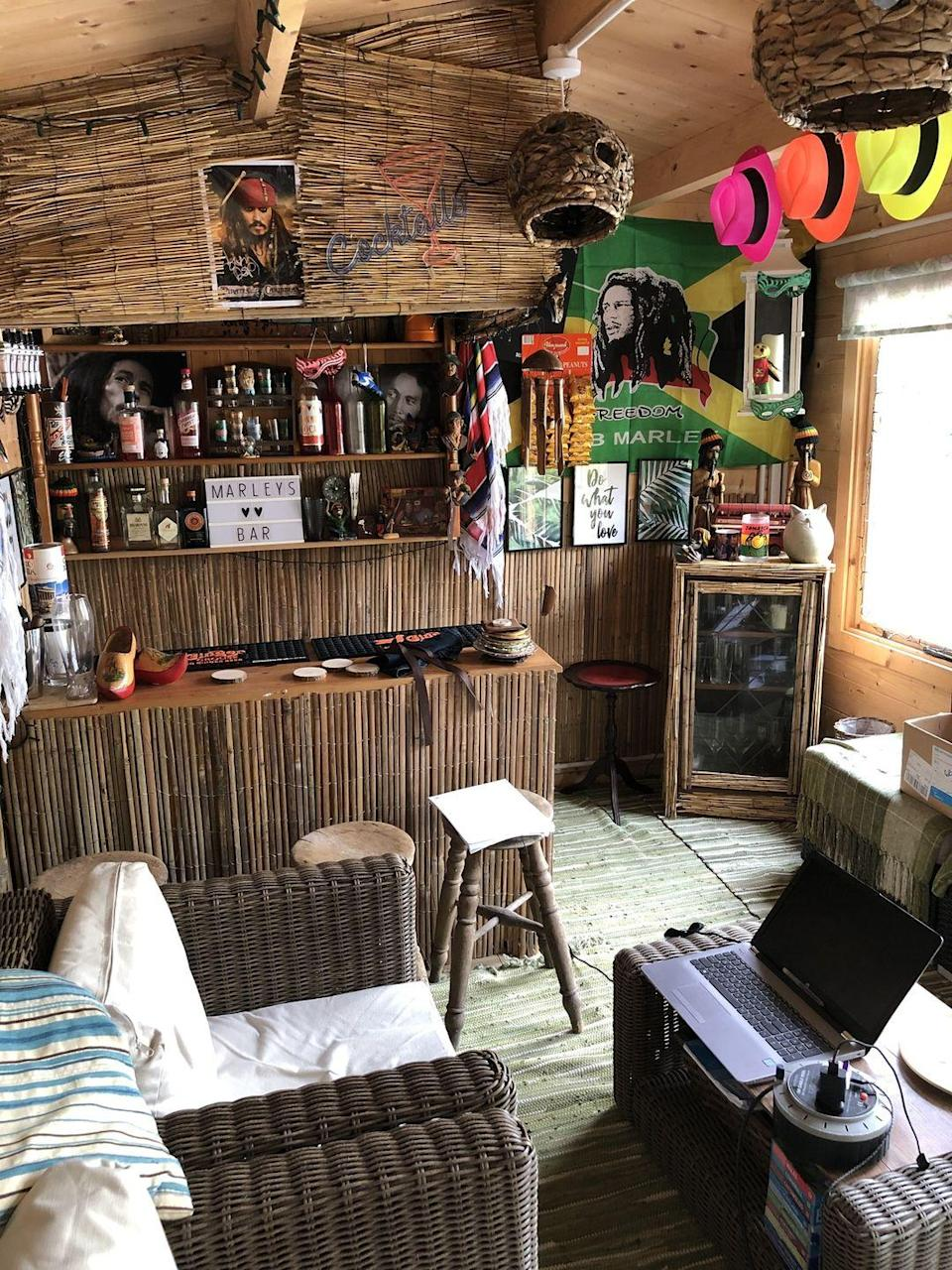<p>Now known as 'Marley's bar', it has wicker sofas, bar stools, a drinks cabinet and posters of Bob Marley, of course. We imagine Charlotte will be hosting some get-togethers here very soon...</p>