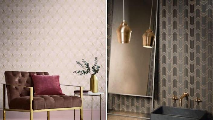 Set the mood with statement wallpaper.
