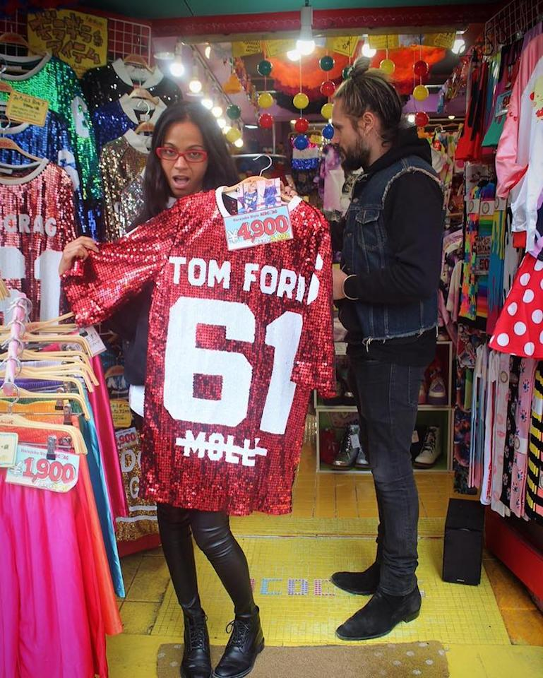 """<p>The <em>Guardians of the Galaxy</em> star was having a blast with her husband, Marco Perego, while doing a little shopping in Tokyo. """"Dayturnal Animals in #Tokyo#tomford #bedazzled #onlyinjapan#fashion,"""" she captioned the cute snap. (Photo: Instagram) </p>"""