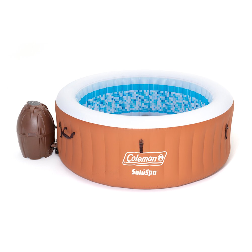 """<h2>Coleman Miami Air Jet Inflatable Hot Tub</h2><br>The retro vibes are strong with this sienna-colored four-person hot tub.<br><br><strong>Capacity:</strong> 4 people<br><strong>Features: </strong>Digital control panel, 120 jets, water filtration system.<br><strong>Includes:</strong> Reinforced cover with safety clips, pool liner, pool cover, chlorine chemical floater, air pad protector, and repair patch.<br><br><strong>Coleman</strong> SaluSpa Miami Air Jet Inflatable Hot Tub, 4 Pers, $, available at <a href=""""https://go.skimresources.com/?id=30283X879131&url=https%3A%2F%2Fwww.walmart.com%2Fip%2FColeman-90455E-SaluSpa-Miami-Air-Jet-4-Person-Inflatable-Hot-Tub-Spa-with-Pump%2F732757791"""" rel=""""nofollow noopener"""" target=""""_blank"""" data-ylk=""""slk:Walmart"""" class=""""link rapid-noclick-resp"""">Walmart</a>"""