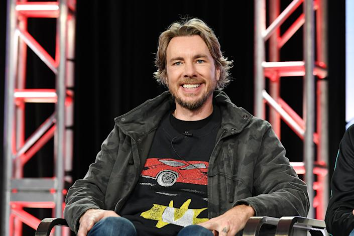"""Dax Shepard of """"Top Gear America"""" speaks during the Discovery MotorTrend segment of the 2020 Winter TCA Press Tour at The Langham Huntington, Pasadena on January 16, 2020 in Pasadena, California. (Photo by Amy Sussman/Getty Images)"""