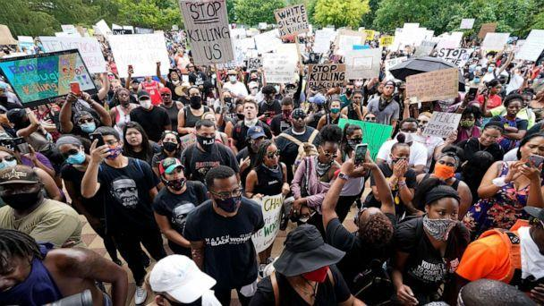 PHOTO: People gather to protest the death of George Floyd in Houston on Tuesday, June 2, 2020. (David J. Phillip/AP Photo)
