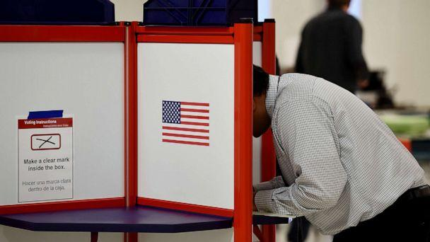 PHOTO: People vote in the Super Tuesday primary at Wakefield High School on March 3, 2020 in Arlington, Va. (Olivier Douliery/AFP via Getty Images)