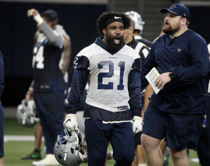 Running back Ezekiel Elliott hasn't reported to Cowboys training camp as he's in a dispute with management over a contract extension. (AP)