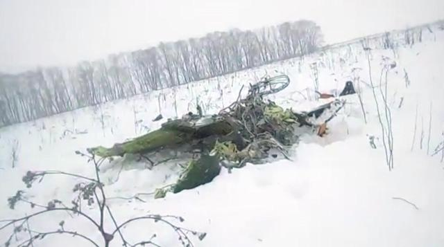 <p>In this screen grab provided by the Life.ru, the wreckage of a AN-148 plane is seen in Stepanovskoye village, about 40 kilometers (25 miles) from the Domodedovo airport, Russia on Feb. 11, 2018. (Photo: Life.ru via AP) </p>