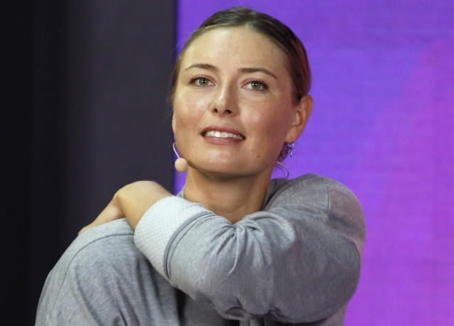 FILE - In this Jan. 30, 2019, file photo, Maria Sharapova of Russia attends her meeting with her fans at the St. Petersburg Ladies Trophy-2019 tennis tournament match in St.Petersburg, Russia. Three-time champion Sharapova has withdrawn from the upcoming Italian Open as she continues to recover from a right shoulder injury. Rome organizers announced Wednesday, May 1 that Sharapovas spot in the draw for the May 13-19 tournament will be taken by 45th-ranked Viktoria Kuzmova of Slovakia. (AP Photo/Dmitri Lovetsky, File)