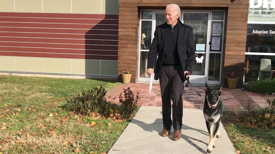 President-elect leaves a Delaware shelter with his new rescue dog, Major.