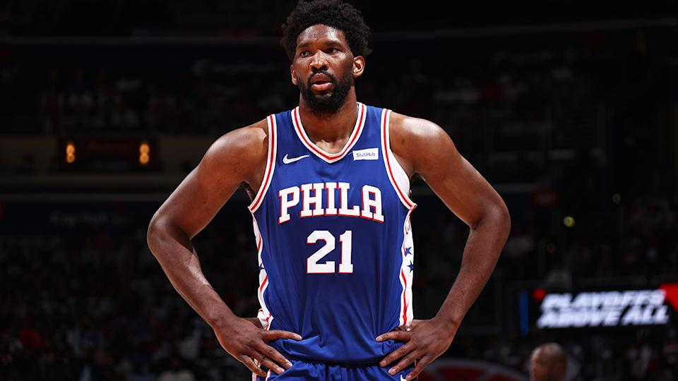 Joel Embiid left Philadelphia's playoff loss to Washington in the first quarter after a nasty fall. (Photo by Stephen Gosling/NBAE via Getty Images)