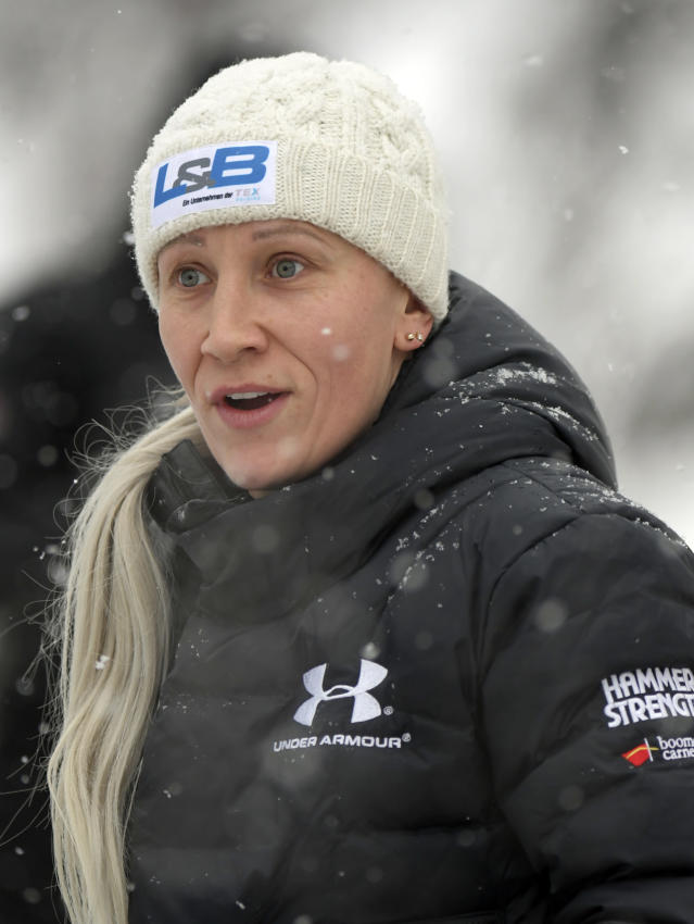 Kaillie Humphries, formerly of team Canada but now representing The United States, warms up a training run for the women's World Cup bobsled event in Lake Placid, N.Y., on Friday, Dec. 6, 2019. Competition begins on Saturday. (AP Photo/Hans Pennink)