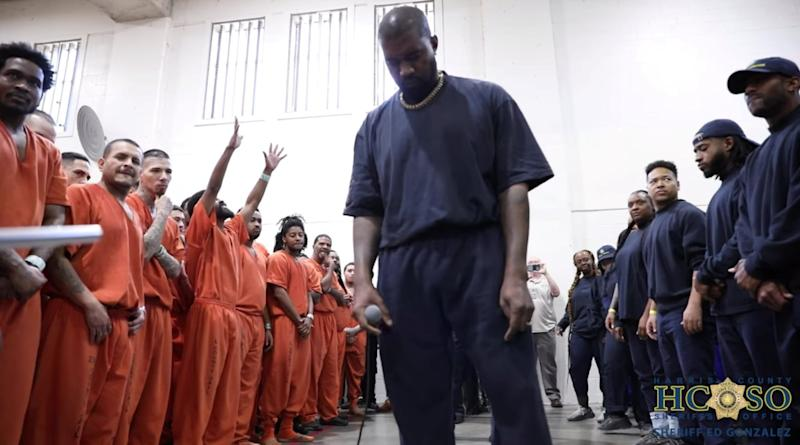 Kanye West and his choir perform at Harris County jail in Houston, Texas: Harris County Sheriff's Office