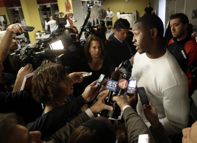 San Francisco 49ers linebacker Aldon Smith fields questions in the team's NFL football practice facility Tuesday, Nov. 5, 2013, in Santa Clara, Calif. Smith missed the past five games while undergoing treatment for substance abuse. (AP Photo/Marcio Jose Sanchez)