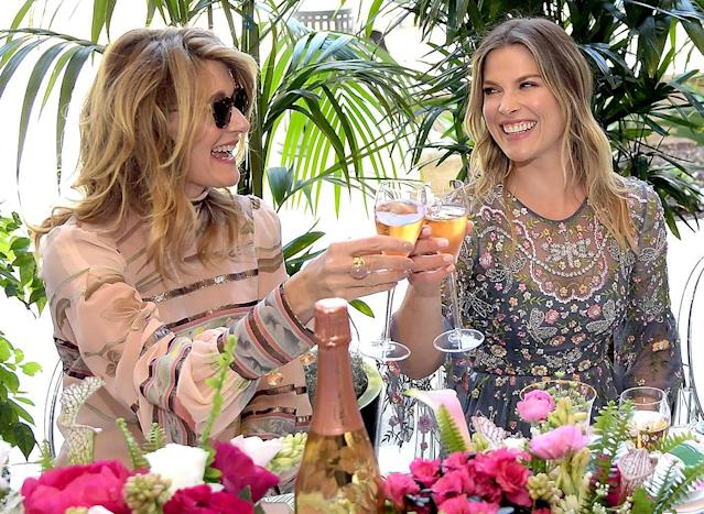 <p>Cheers! The actresses (and mothers) clinked their glasses at the Perrier-Jouet Toasts Mother's Day brunch at Georgie at Montage Beverly Hills. (Photo: Charley Gallay/Getty Images for Perrier-Jouet) </p>