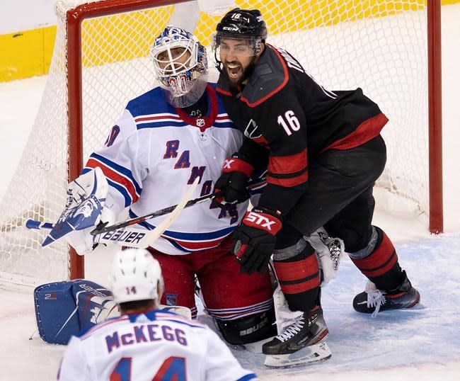 Aho leads Hurricanes to 3-2 win over Rangers in NHL's return