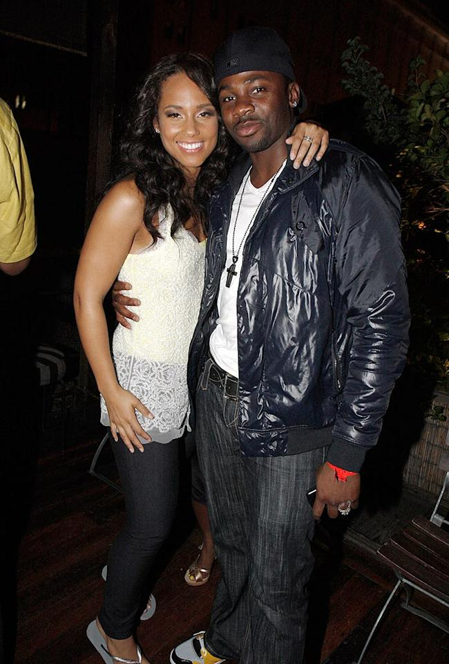 """Alicia catches up with Derek Luke, who plays her love interest in her video for """"Teenage Love Affair."""" Johnny Nunez/<a href=""""http://www.wireimage.com"""" target=""""new"""">WireImage.com</a> - June 18, 2008"""