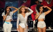 <p>At Coachella in 2018 giving a performance of a lifetime wearing matching silver and white outfits.</p>
