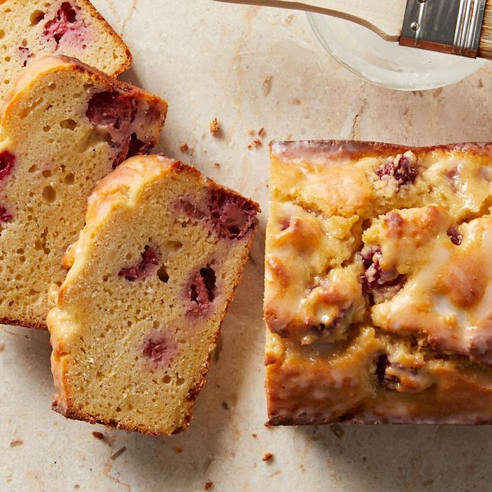 <p>This sweet lemon-raspberry pound cake is packed with zingy lemon and fruity raspberries. Ricotta cheese adds a rich flavor and texture without the typical pound of butter used in traditional pound cakes. Enjoy a slice as an easy brunch treat or evening dessert.</p>