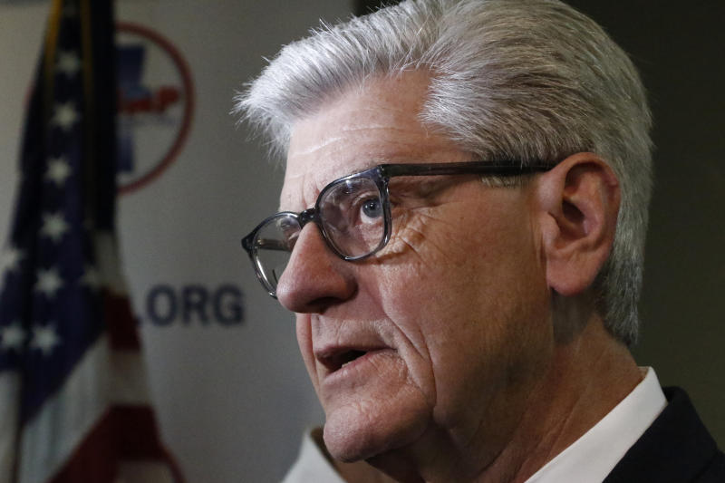 Gov. Phil Bryant discusses with reporters, his concerns about the recent violence at the state penitentiary in Parchman, Monday, Jan. 6, 2020, in Jackson, Miss. (AP Photo/Rogelio V. Solis)
