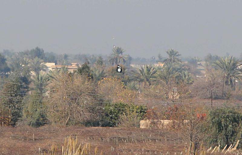 An Islamist State flag flying in fields in the area of Sayed Ghareeb, near Dujail, Iraq, on January 2, 2015