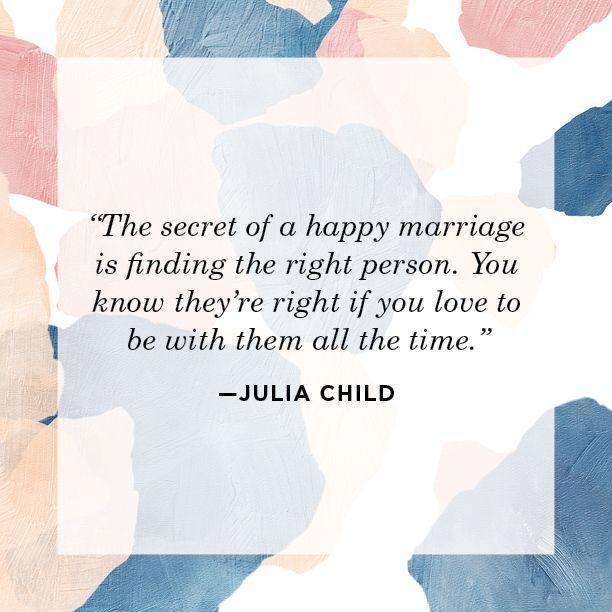 "<p>""The secret of a happy marriage is finding the right person. You know they're right if you love to be with them all the time.""</p>"