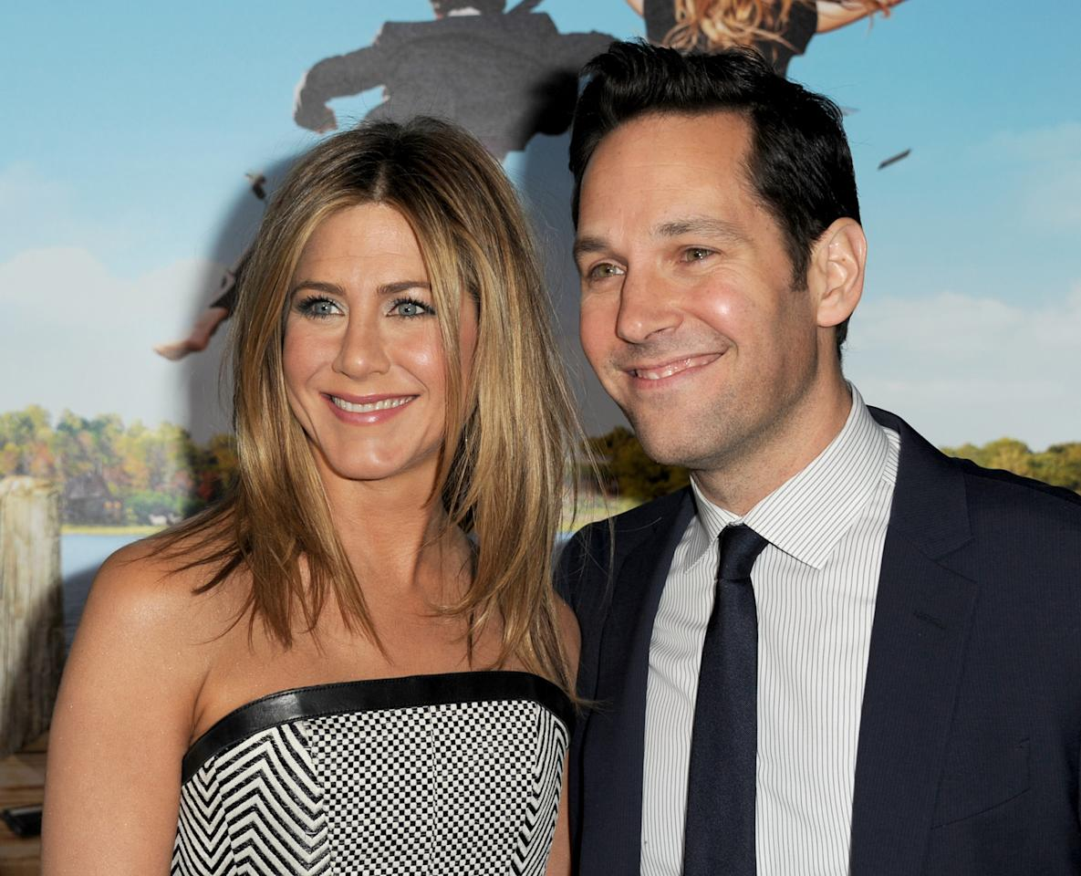 "WESTWOOD, CA - FEBRUARY 16:  Actors Jennifer Aniston (L) and Paul Rudd arrive at the premiere of Universal Pictures' ""Wanderlust"" held at Mann Village Theatre on February 16, 2012 in Westwood, California.  (Photo by Kevin Winter/Getty Images)"