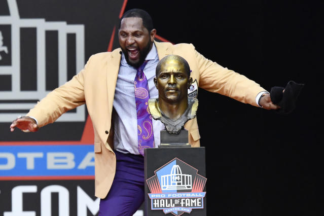 Former Ravens linebacker Ray Lewis gave an impassioned, rambling Hall of Fame speech on Saturday that left his jacket soaked in sweat when it was over. (AP)