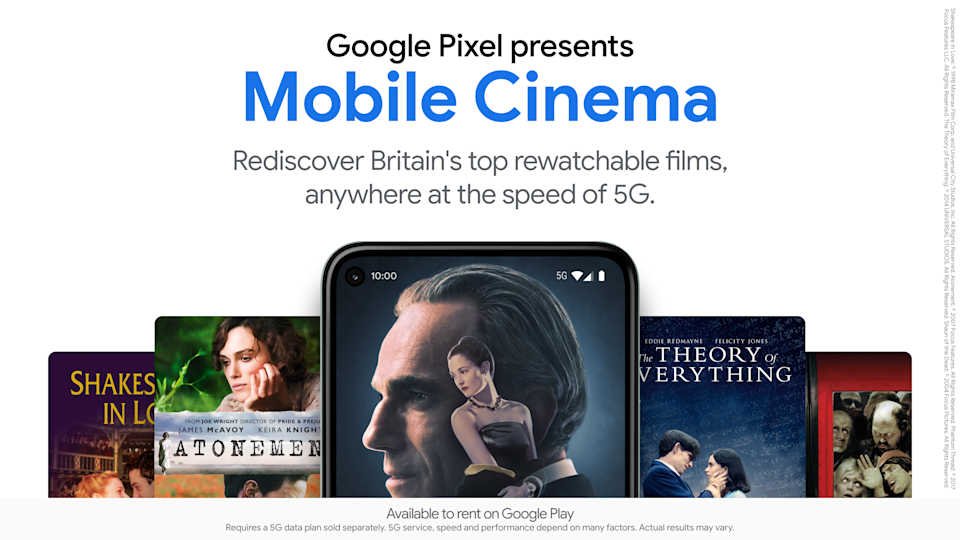 A promotional graphic for Google Pixel presents Mobile Cinema (Google)