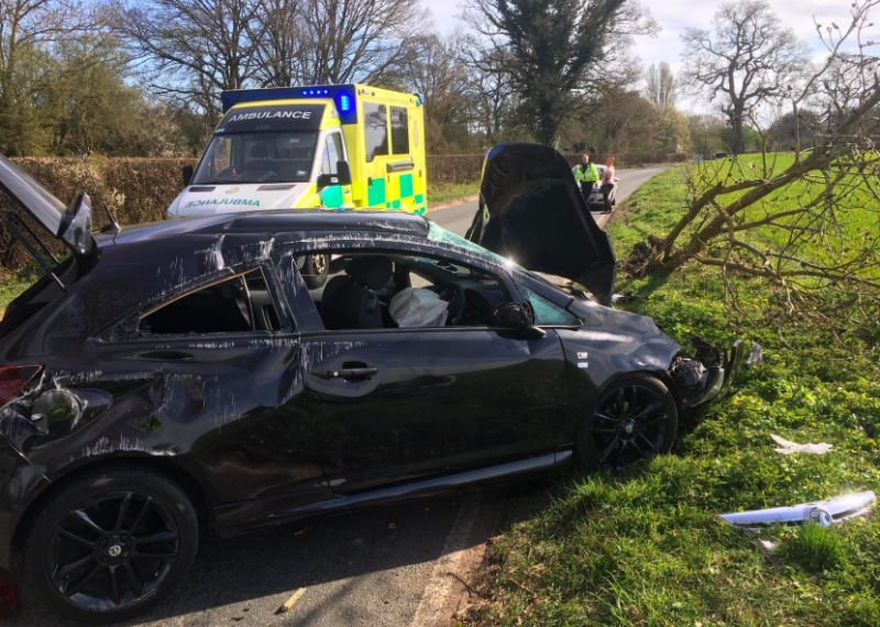The driver of the car crashed on the B4009 #Thatcham while driving ten miles from home to walk their dog. (Thames Valley Police)