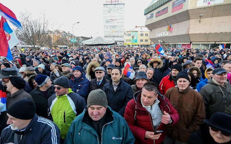 "Bosnian Serbs, citizens of Western-Bosnian town of Banja Luka, gather to attend a police parade on January 9, 2017, as part of ""The Day of Republika Srpska"" (AFP Photo/)"