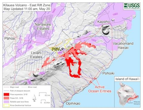 A map showing the lava flows coming from Kilauea