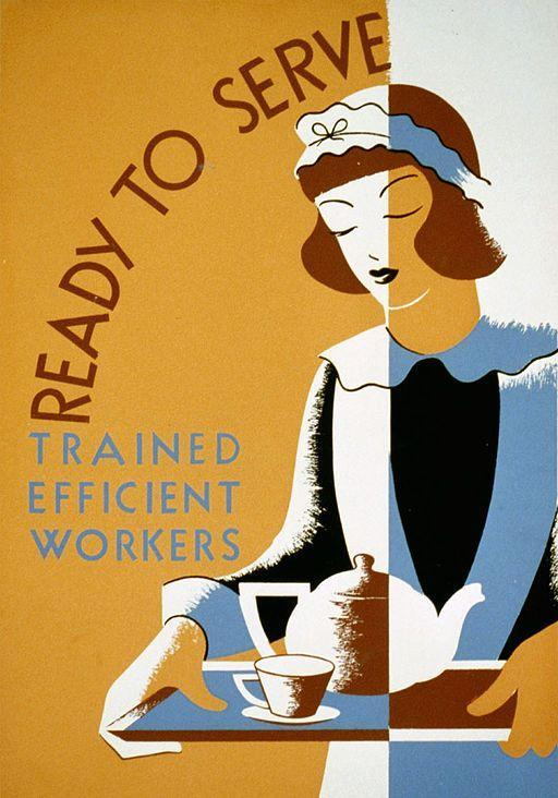 Stylized drawing of a maid on a WPA poster