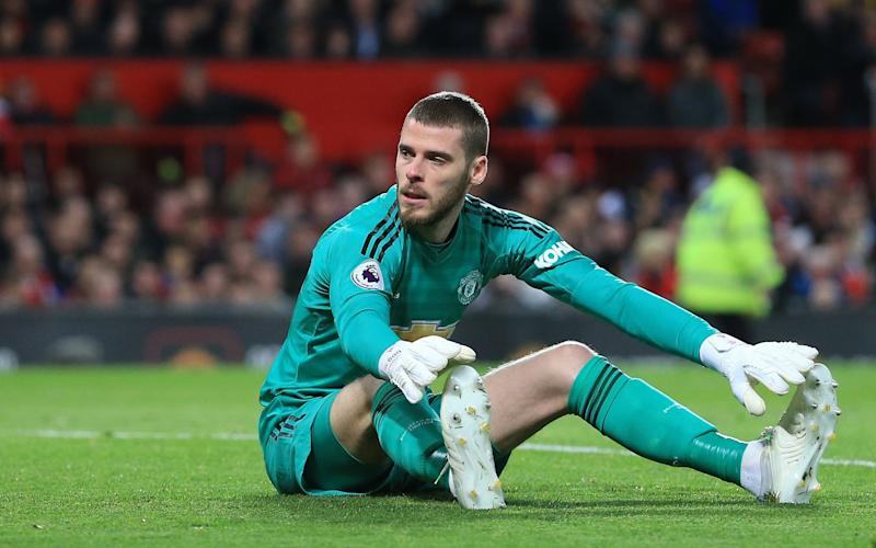 A dejected Man Utd goalkeeper David De Gea - Offside