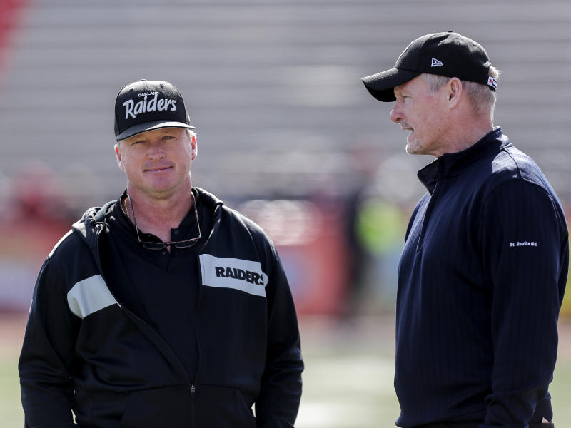 Jon Gruden, left, and Mike Mayock know that the future of the Oakland Raiders could depend on another big draft haul in 2020. (Getty Images)