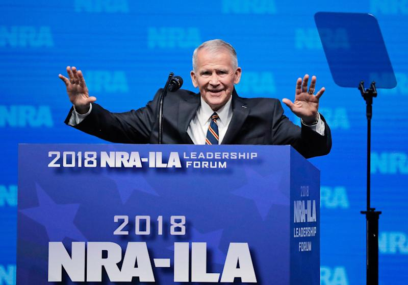 Retired Lt. Col. Oliver North, who spoke atthe National Rife Association convention in Dallas last week, is expected to be thegroup's next president. (Lucas Jackson / Reuters)