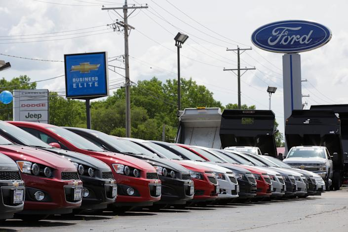 New Chevys for sale fill the lot at Raymond Chevrolet in Antioch, Illinois, July 17, 2014.