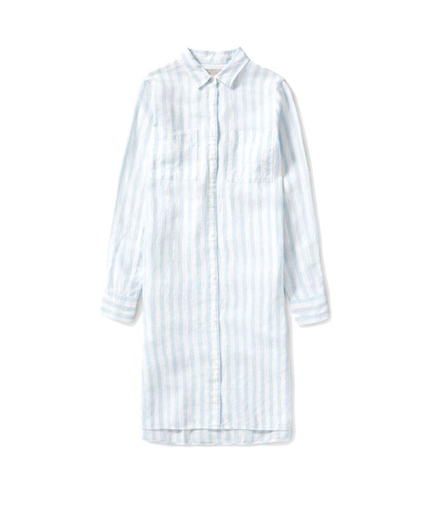 "<p>Linen shirt dress,$78, <a href=""https://www.everlane.com/products/womens-linen-shirt-dress-blue-offwhite"" rel=""nofollow noopener"" target=""_blank"" data-ylk=""slk:everlane.com"" class=""link rapid-noclick-resp"">everlane.com</a> </p>"