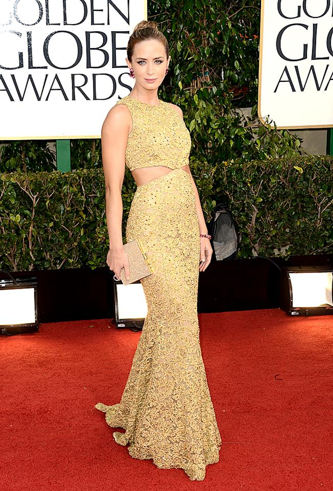 Emily Blunt arrives at the 70th Annual Golden Globe Awards at the Beverly Hilton in Beverly Hills, CA on January 13, 2013.
