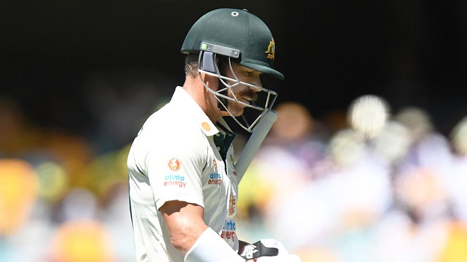 Seen here, David Warner trudges off after being removed for one at the Gabba.