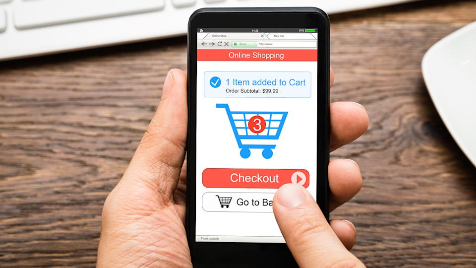 person online shopping on phone