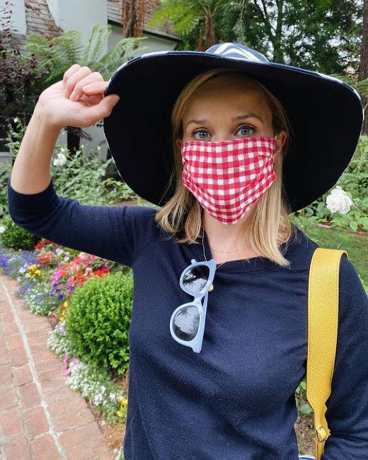reese witherspoon face mask covering gingham